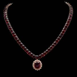 14K Gold 142.96ct Ruby & 1.10ct Diamond Necklace