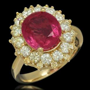 14K Gold 4.23ct Ruby 1.55ct Diamond Ring