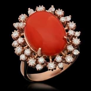 14K Gold 7.63ct Coral & 1.00ct Diamond Ring