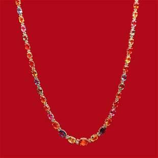 14K Gold 33.00ct Multi-Colored Sapphire 0.95ct Diamond