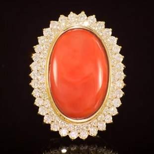 14K Gold 31.50ct Coral 2.04ct Diamond Ring