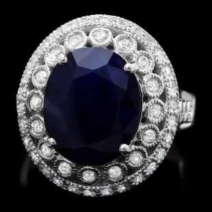 14k Gold 5.20ct Sapphire 0.85ct Diamond Ring