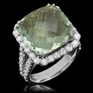 14K Gold 11.49ct Praseolite Quartz 1.50ct Diamond Ring