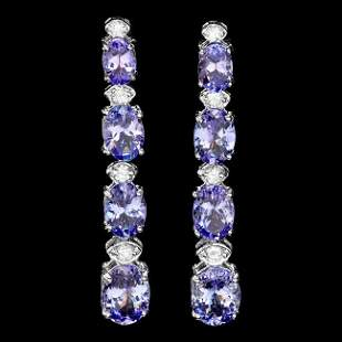 14k Gold 7ct Tanzanite 0.45ct Diamond Earrings