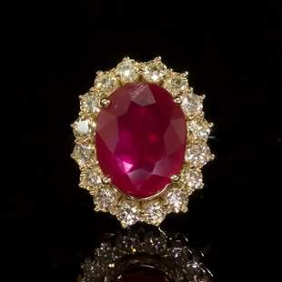 14k Gold 7.27ct Ruby 1.70ct Diamond Ring