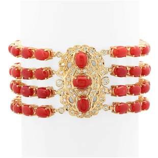 14K Gold 39.10ct Coral 1.05cts Diamond Bracelet