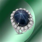 14K Gold 24.77cts Star Sapphire & 1.82cts Diamond Ring