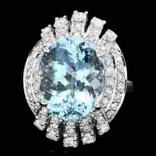 14k Gold 9.00ct Aquamarine 1.25ct Diamond Ring