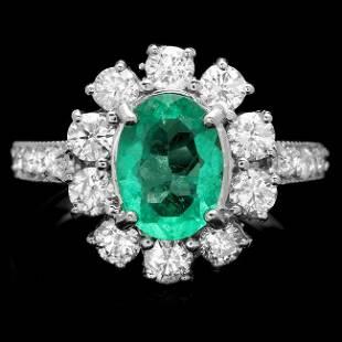 4k White Gold 1.50ct Emerald 1.45ct Diamond Ring