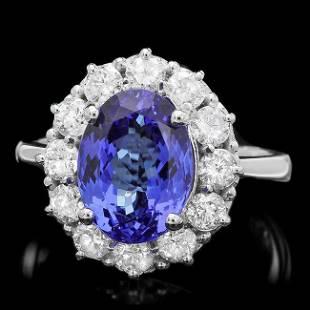 14k Gold 4.50ct Tanzanite 1.10ct Diamond Ring