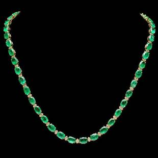 14k Gold 32ct Emerald 1.75ct Diamond Necklace