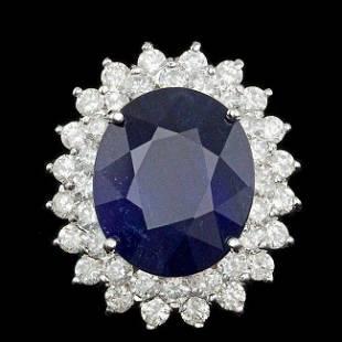 k Gold 13.50ct Sapphire 2.25ct Diamond Ring