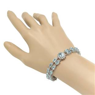 14K Gold 24.67ct Aquamarine 1.63ct Diamond Bracelet