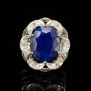 14K Gold 12.34ct Sapphire 0.85ct Diamond Ring