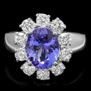 14k Gold 2.50ct Tanzanite 1.25ct Diamond Ring