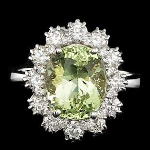 14k White Gold 4.00ct Beryl 1.25ct Diamond Ring