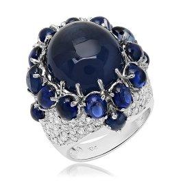 14K White Gold, 18.00.cts Sapphire, 2.25cts Diamond