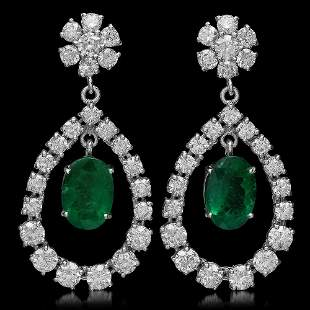 14K Gold 5.83ct Emerald 7.00ct Diamond Earrings