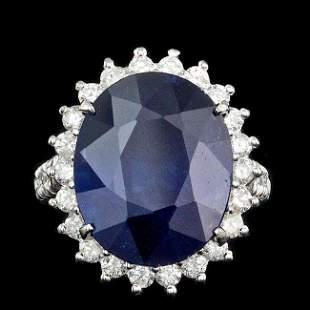 14k Gold 17.00ct Sapphire 1.25ct Diamond Ring