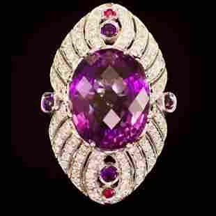 14K Gold 27.00ct Amethyst, 0.08ct Ruby 1.70ct Diamond
