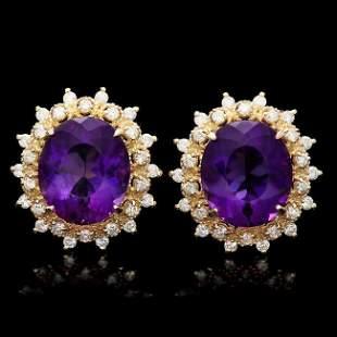 14k Gold 15ct Amethyst 1.3ct Diamond Earrings