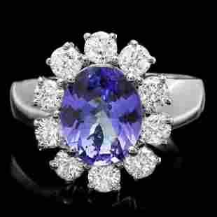 14k Gold 2.30ct Tanzanite 1.25ct Diamond Ring