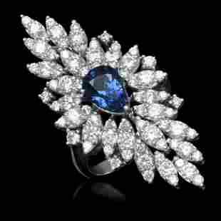 14K Gold 2.67ct Sapphire 3.31ct Diamond Ring