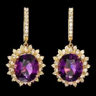 14k Gold 15.00ct Amethyst 2.10ct Diamond Earrings