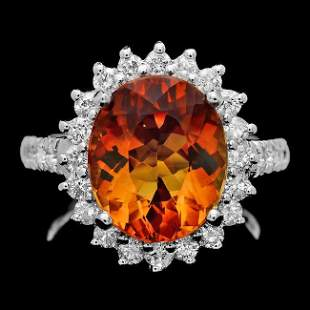 14k White Gold 5.00ct Citrine 1.05ct Diamond Ring