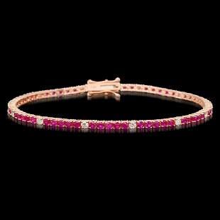 14k Rose Gold 3.21ct Ruby 0.75ct Diamond Bracelet