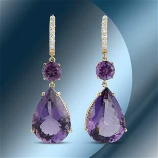 14K Gold 41.12cts Amethyst & 0.51cts Diamond Earrings