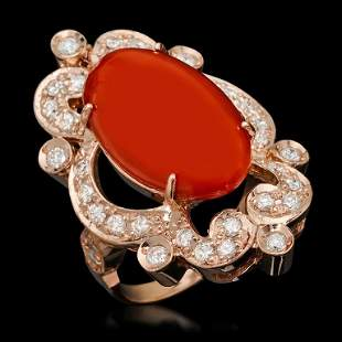 14K Gold 9.46ct Coral & 1.25ct Diamond Ring