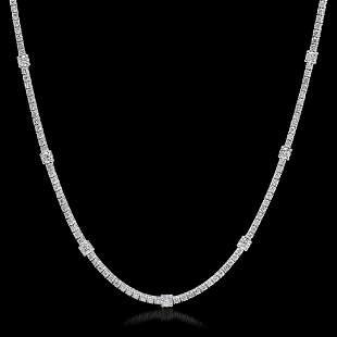 18K White Gold 7.91 cts.Diamond Necklace