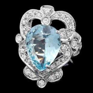 4k Gold 5.40ct Aquamarine 1.15ct Diamond Ring