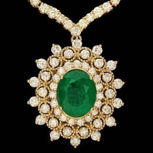 18k Gold 3.75ct Emerald 10.95ct Diamond Necklace
