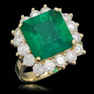 18K Gold 5.07 Emerald 2.20 Diamond Ring