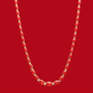 18K Gold 30.61ct Coral 1.35ct Diamond Necklace