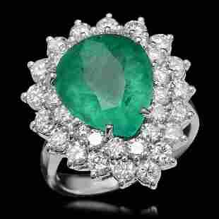 14K Gold 5.97ct Emerald & 2.40ct Diamond Ring