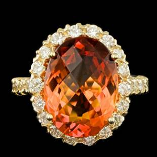 14k Gold 7.00ct Citrine 1.35ct Diamond Ring