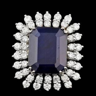 14k Gold 13.50ct Sapphire 2.40ct Diamond Ring