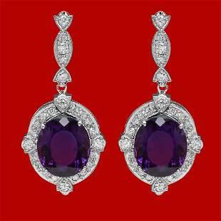 14k Gold 16.35ct Amethyst 1.85ct Diamond Earrings