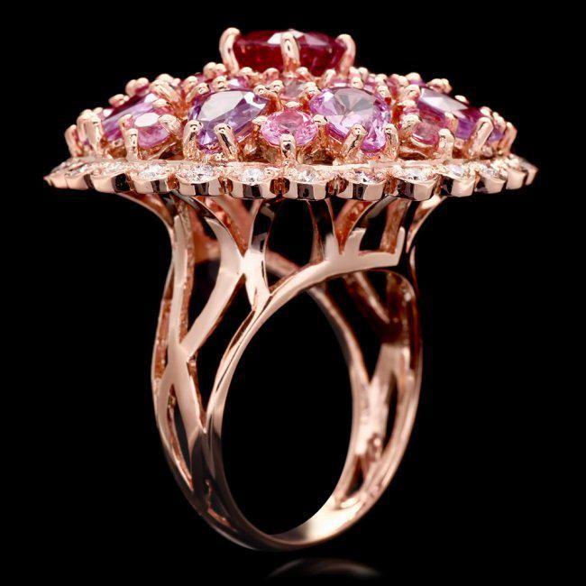 k Rose Gold 11ct Sapphire 0.75ct Diamond Ring