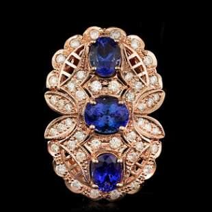 14k Rose 5.50ct Tanzanite 1.60ct Diamond Ring