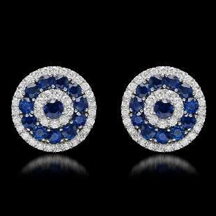 14k White Gold 4.63ct Sapphire 1.75ct Diamond Earrings