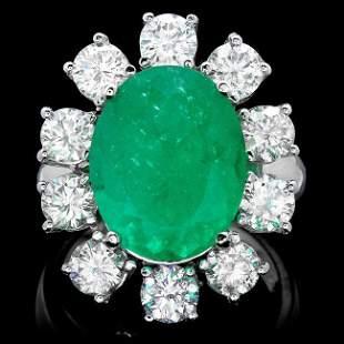 18k White Gold 8.00ct Emerald 3.35ct Diamond Ring