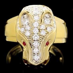 18k Gold 1.00ct Diamond 0.05ct Ruby Mens Ring