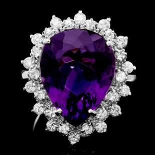 14k Gold 8.50ct Amethyst 0.90ct Diamond Ring