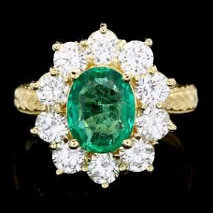 18k Gold 2.00ct Emerald 2.00ct Diamond Ring