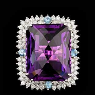 14k Gold 26.00ct Amethyst 1.90ct Diamond Ring
