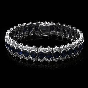 4K White Gold 22.41ct. Sapphire & Diamond Bracelet